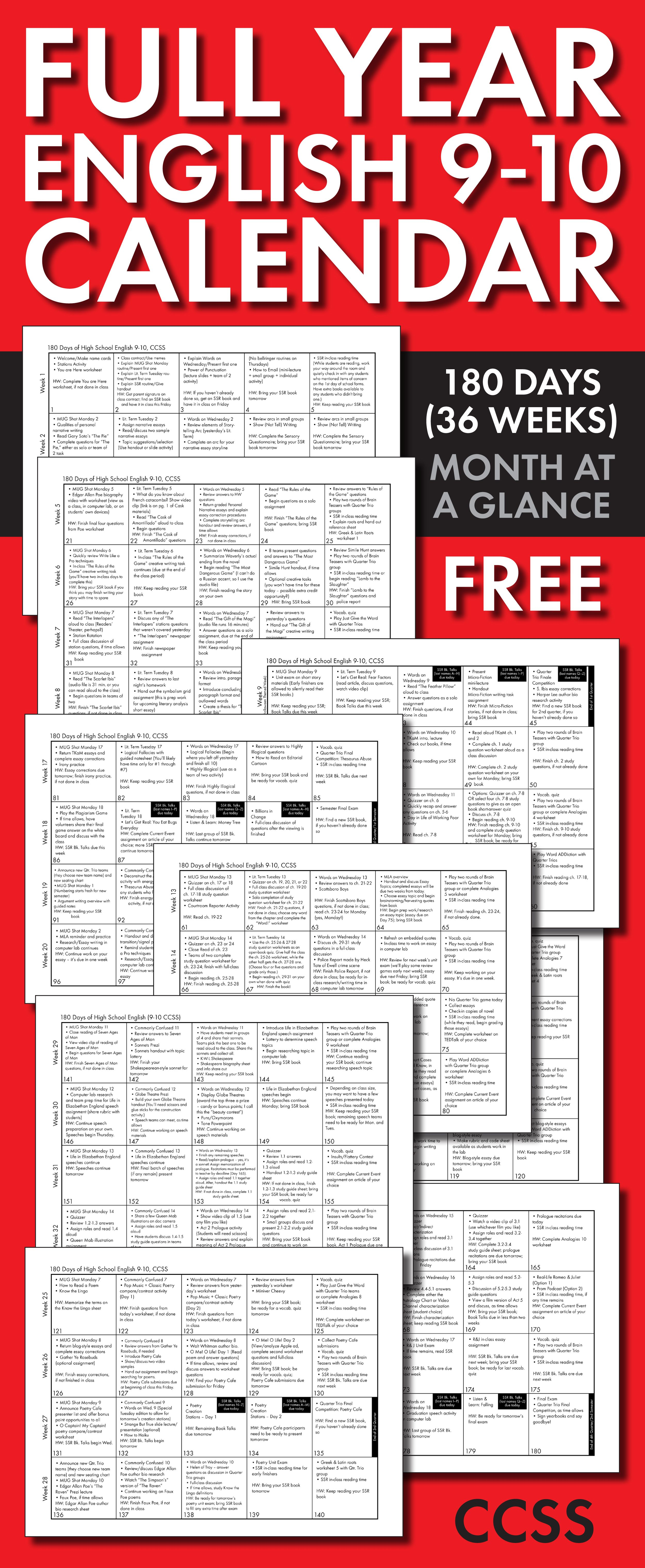 Every lesson planned out for an entire year! Click here for a FREE ...