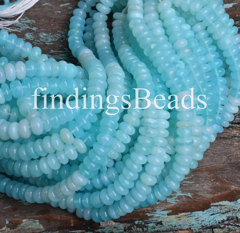 Blue Opal Beads,Natural Blue Opal Smooth Beads,Amazing Quality Blue Opal Rondelles Gemstone Beads,10 mm,Size 16 Inches Strand