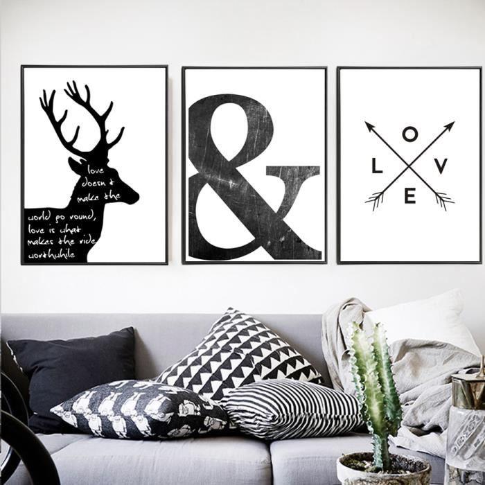 Abstrait symbole toile peinture noir blanc nordic scandinave mur art image poster imprimer salon maison decor non encadré achat vente tableau