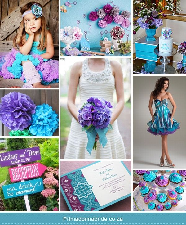 Turquoise And Purple Wedding Theme Like The Cupcakes And Bouquet