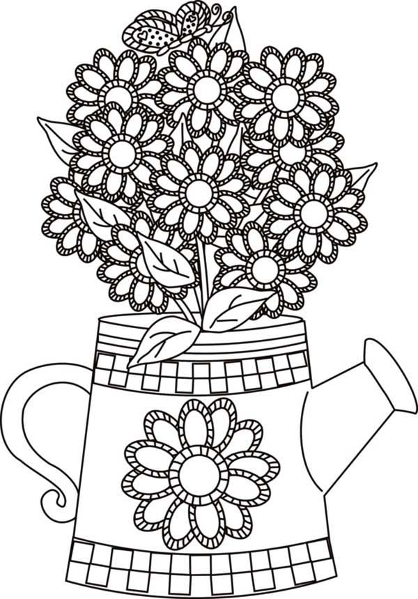 Watering Can With Flowers Hearts And Butterflies Flower Coloring Pages Elsa Coloring Pages Butterfly Coloring Page