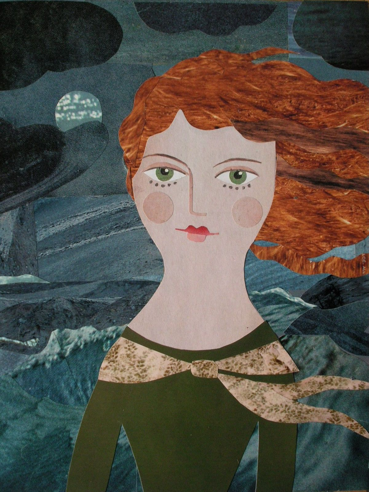 'A Dark and Stormy Night'. Cut paper collage by Amanda White www.amandawhite-contemporarynaiveart.com