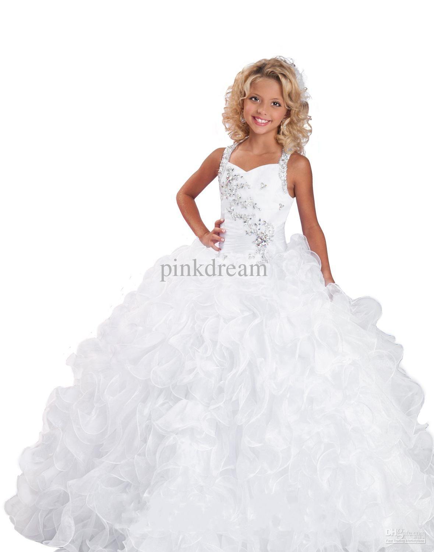 White Princess Ball Gown Formal Dress Rhinestone Beaded Ruffle ...