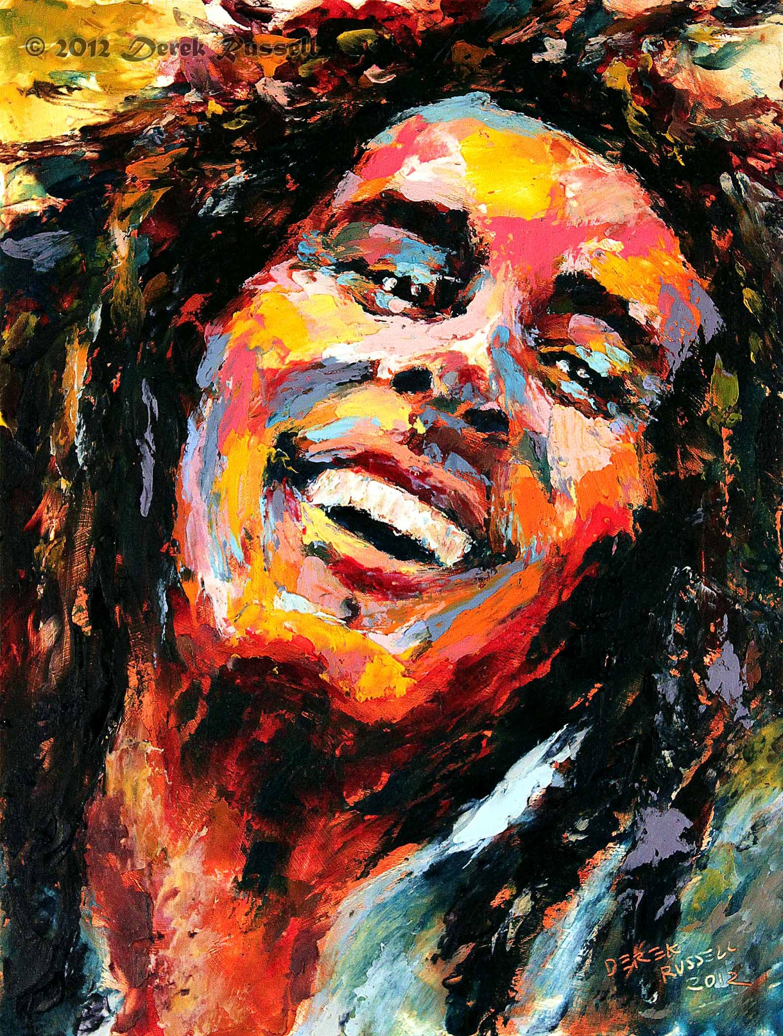 Famous Art Paintings Bob Marley Original Oil Portrait Painting Artist Derek Russell 2012