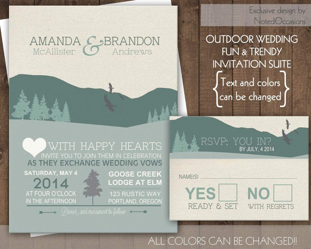 Mountain Wedding Invitation Set - Rustic Wedding Outdoor Glamping ...