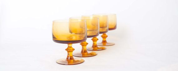 Amber Dessert Glasses by NeatoVintage on Etsy, $24.00