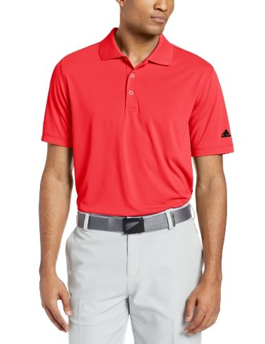 Adidas Golf Men's Puremotion Solid Jersey Polo, Hi-Res Red/Black, Large