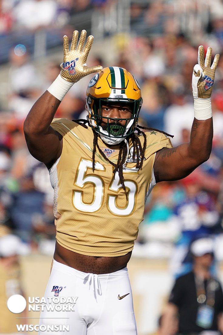 Linebacker Za Daris Smith Of The Green Bay Packers 55 Reacts In The Second Quarter Against The Afc In 2020 Green Bay Packers Usa Today Sports Camping World Stadium