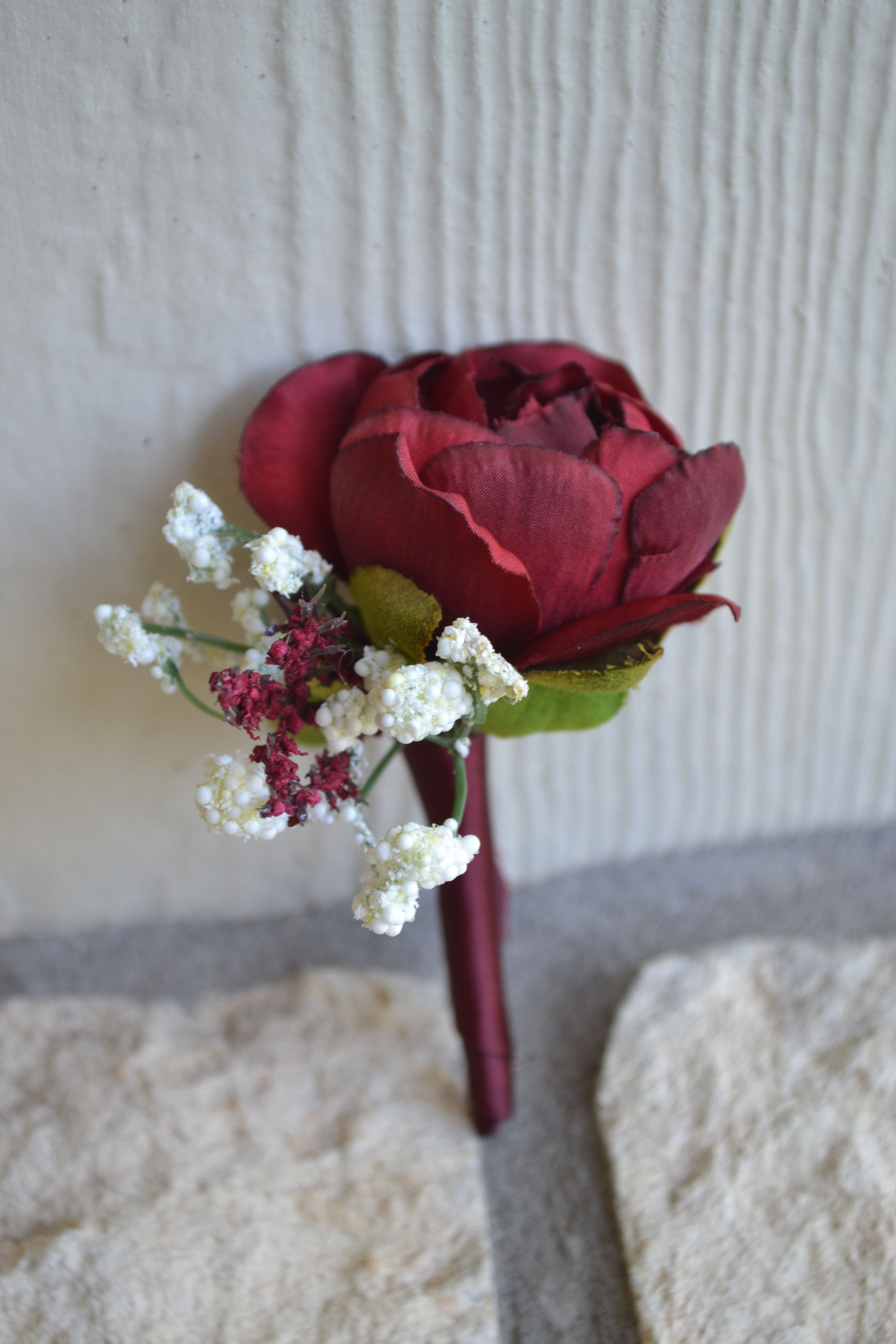 Cranberry Colored Ranunculus Boutonniere With Babies Breath Ranunculus Boutonniere Wedding Flowers Bridal Bouquet