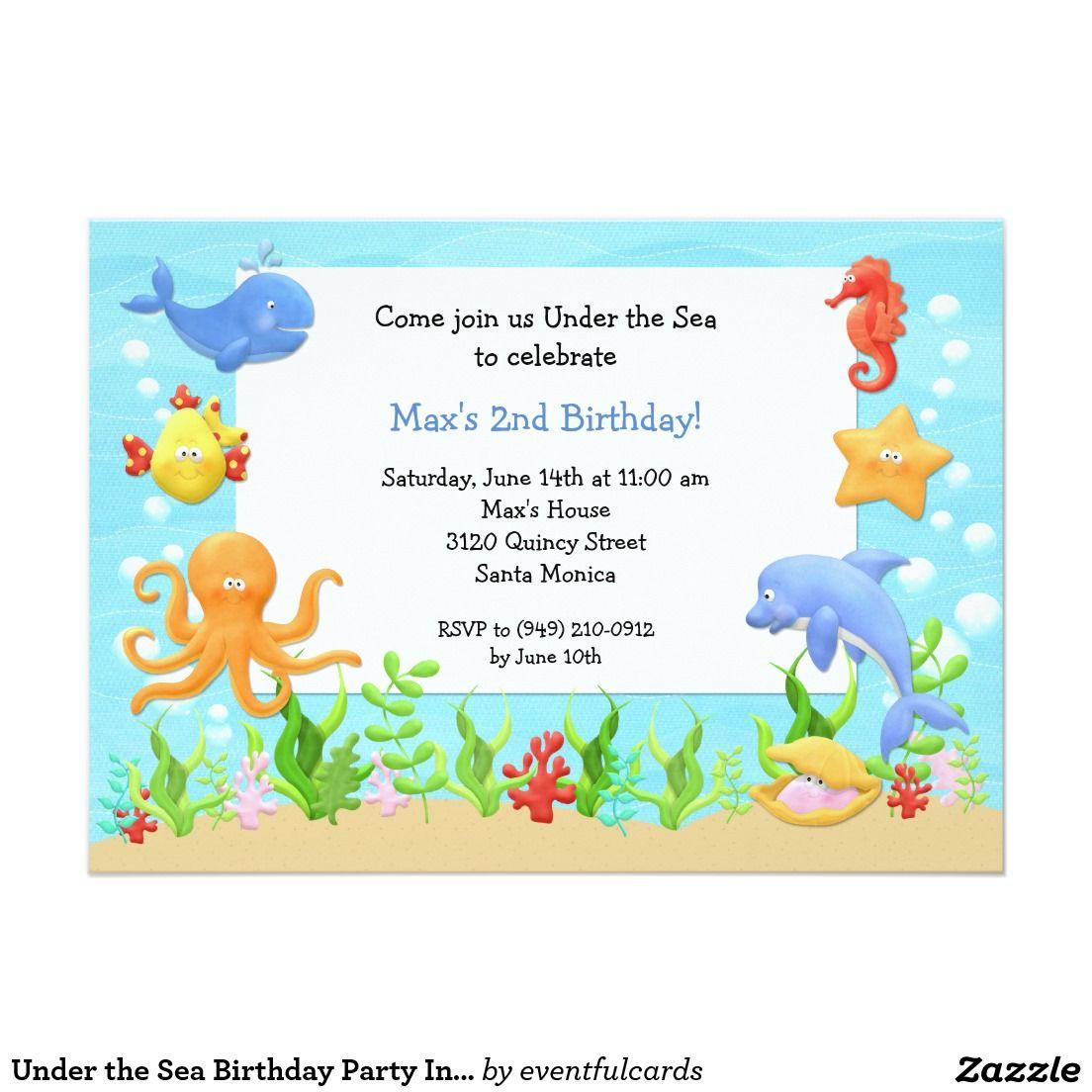Under the Sea Birthday Party Invitation   Party invitations ...
