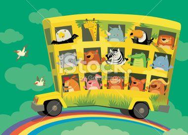 Vector Illustration Of Jungle Triple Decker Bus Driven On Rainbow Wheels On The Bus Preschool Songs Fun Songs