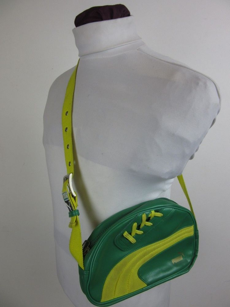 a4a4c81682ae1 Vintage Retro Puma Sneaker Shoe Lace Bag Green & Yellow Indie Mod ...