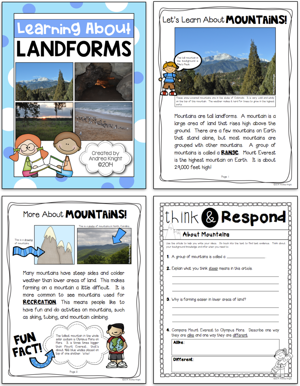 Learning About Landforms Differentiated Materials For