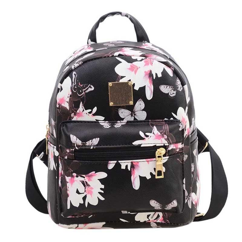 9f26617ae2a1 New Women Butterfly Flower Small Backpack Printed PU Leather Lady Fashion  Cute Travel Backpacks WML99