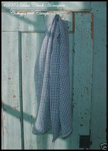 "Antique 1800's Homespun Fabric Early Blues White Check Coverlet 34"" AAFA 