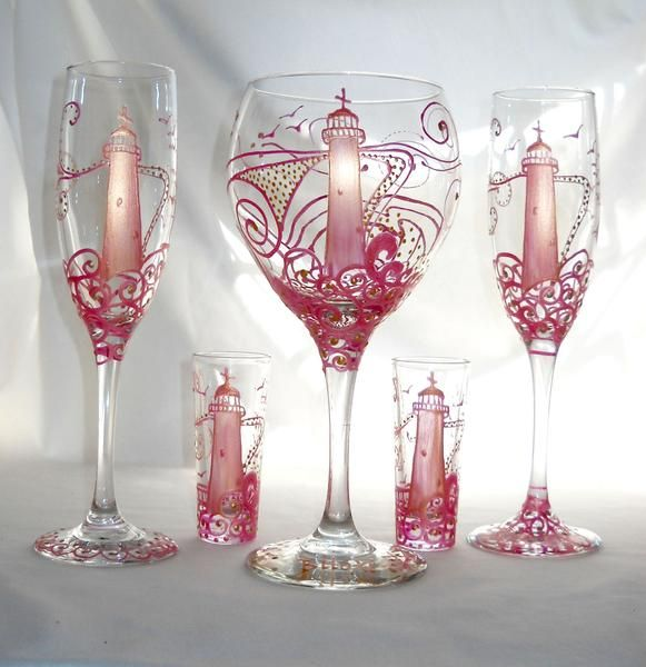 Exceptional Pink Lighthouse Wine Glass Hand Painted Nautical Goblet Art On Glass  Exclusive Authentic American Sackettdoodles®