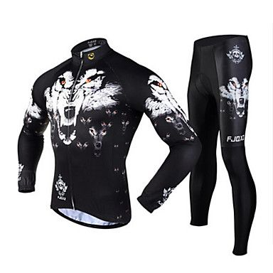 FJQXZ Men's Winter Autumn Wolf Pattern Long Sleeves Jersey Tights Black Fleece Thermal Cycling Suit - CAD $ 90.34