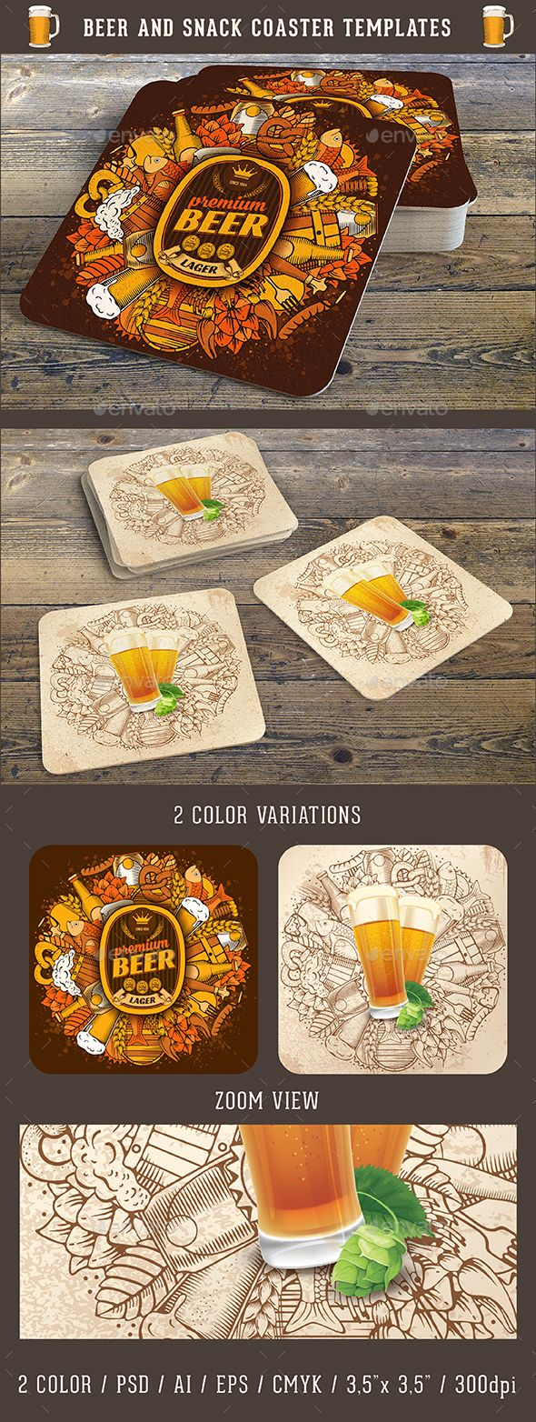 Beer and Snack Coaster Template