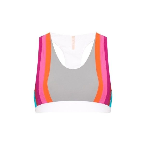 NO KA'OI Honi rainbow-stripes sports bra ($55) ❤ liked on