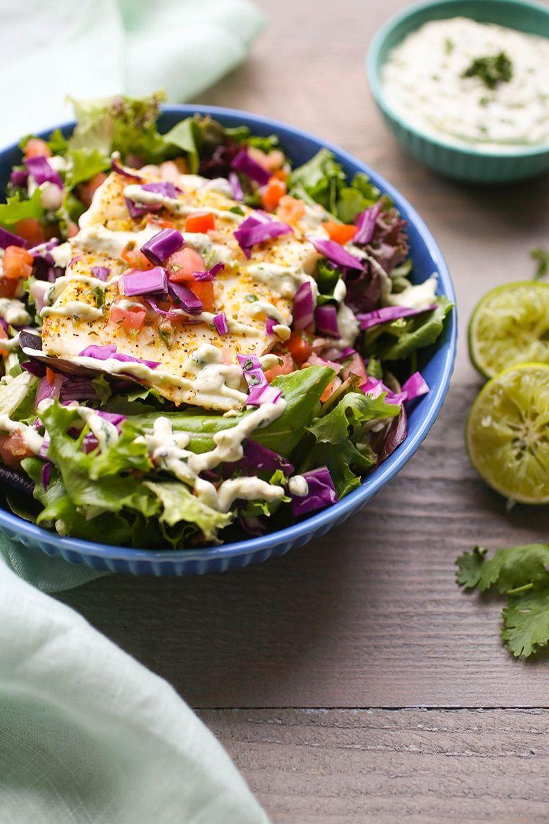 Grilled Halibut Salad with Avocado Aioli