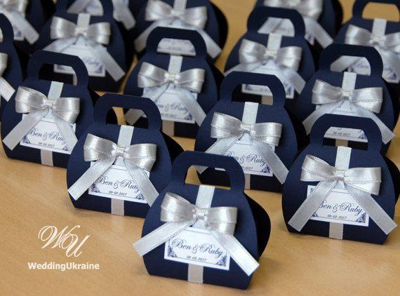 Navy Blue Wedding Bonbonniere Custom By Weddingukraine On Etsy