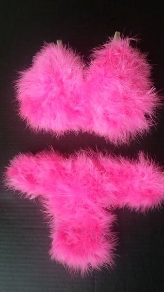 0b05976cb3fa2 Hot Pink Fuzzy Bra Set