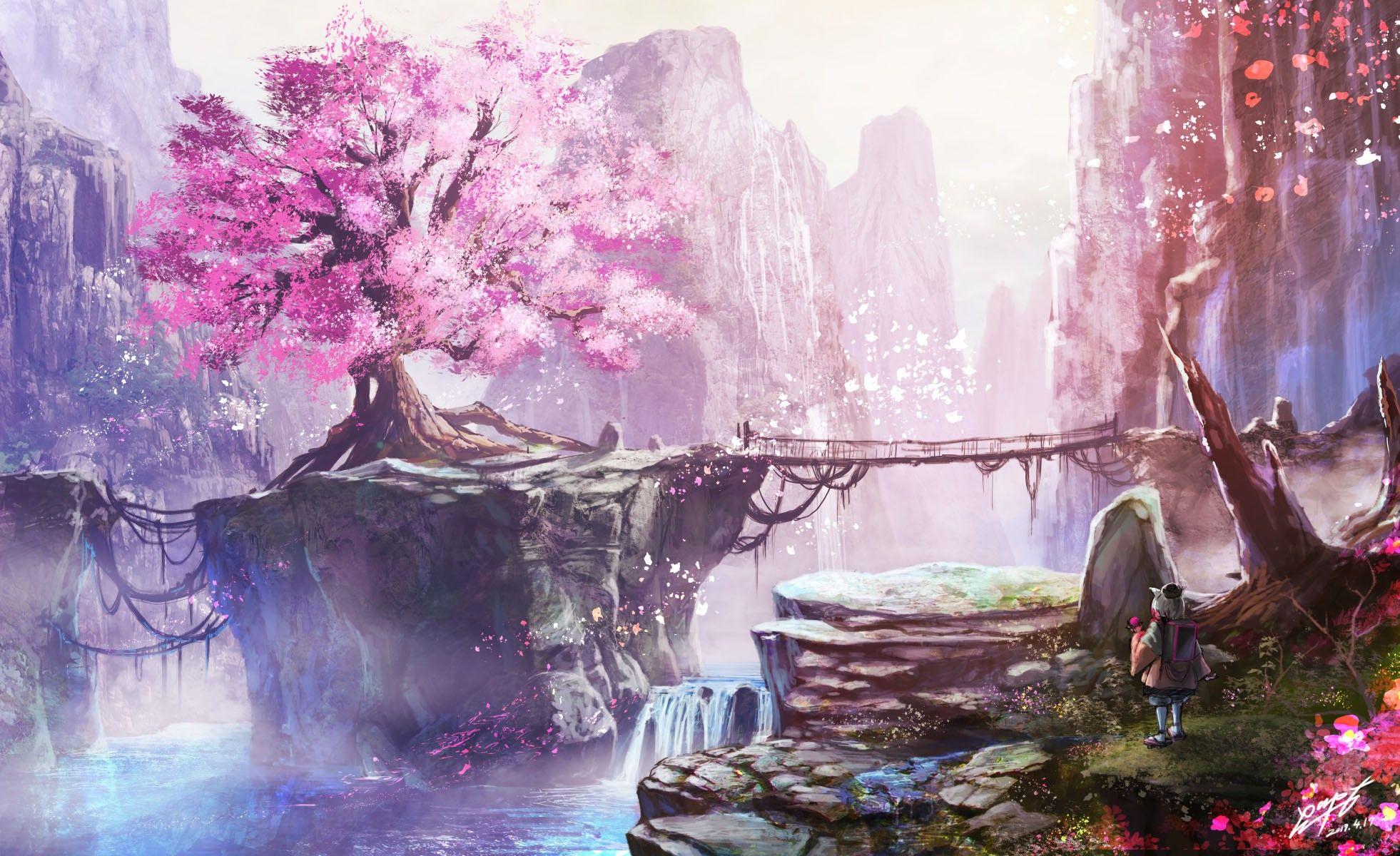 cherry blossom fantasy art Anime cherry blossom, Cherry