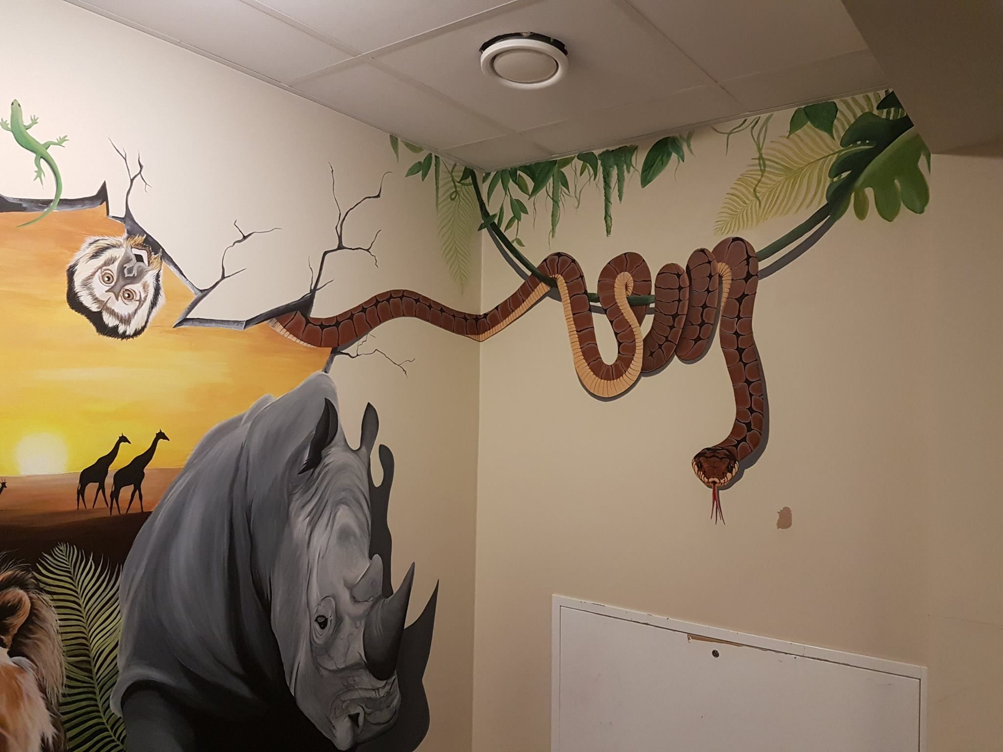 mural snake rhino monkey wild animals paint wall therese walland mural snake rhino monkey wild animals paint wall