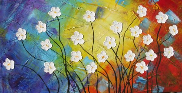 ORIGINAL Oil Painting Young And Restless 45 X 23 Palette Knife Colorful Textured Abstract Flowers Daisies
