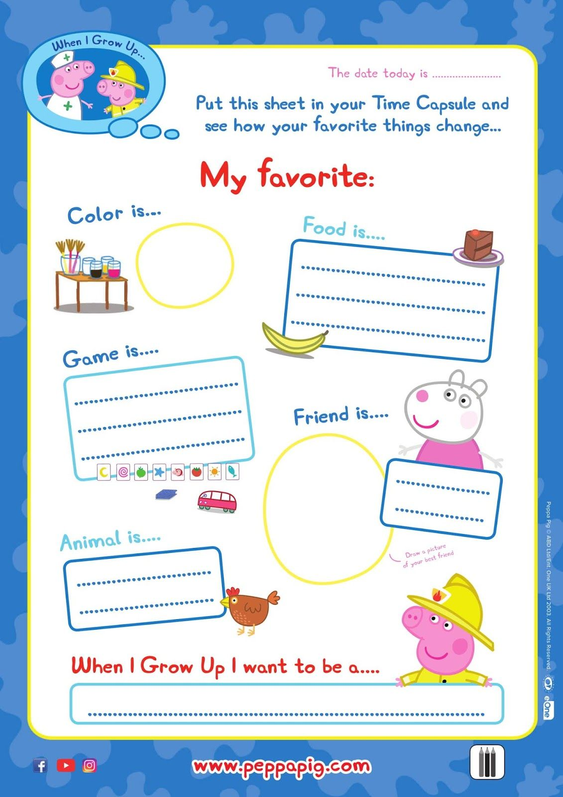 Back To Shool With Peppa Pig Free Time Capsule Activity