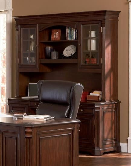 CLEARANCE 50% OFF SPECIAL ORDER Home Office Computer Desk Credenza With  Hutch In Rich Dark Finish CO 800566D $1489 $744