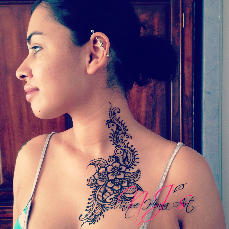 Henna Tattoo Neck Designs: Neck And Chest Henna Body Art 2013 © NJ's Unique Henna Art