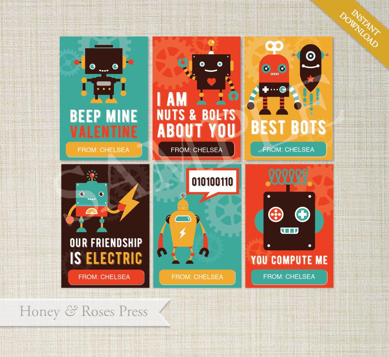 Robot Valentine S Day Cards Class Valentines Kids Valentines Cards Printable Valentines