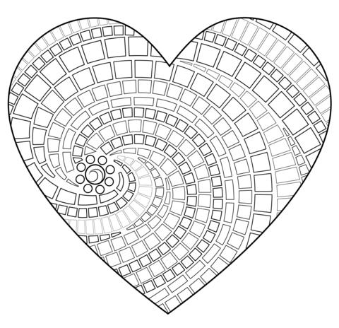 Mosaico en forma de corazón Dibujo para colorear. Categorías ...