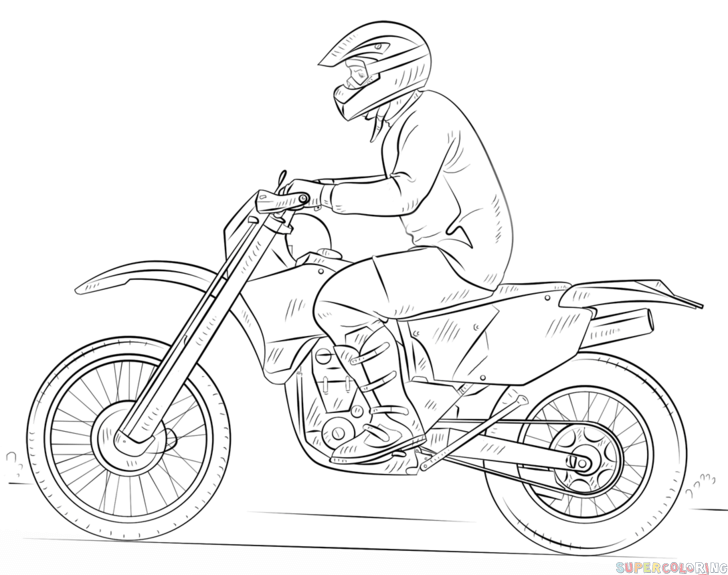 How to draw a dirty bike step by step. Drawing tutorials