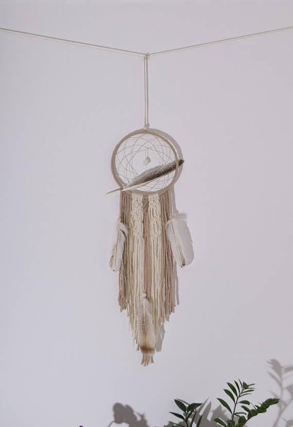 Beige Dream catcher Wall Hanging Living Room Decorations Wool