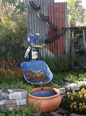 Garden waterfall from recycled materials waterfeatures for Fish pond materials