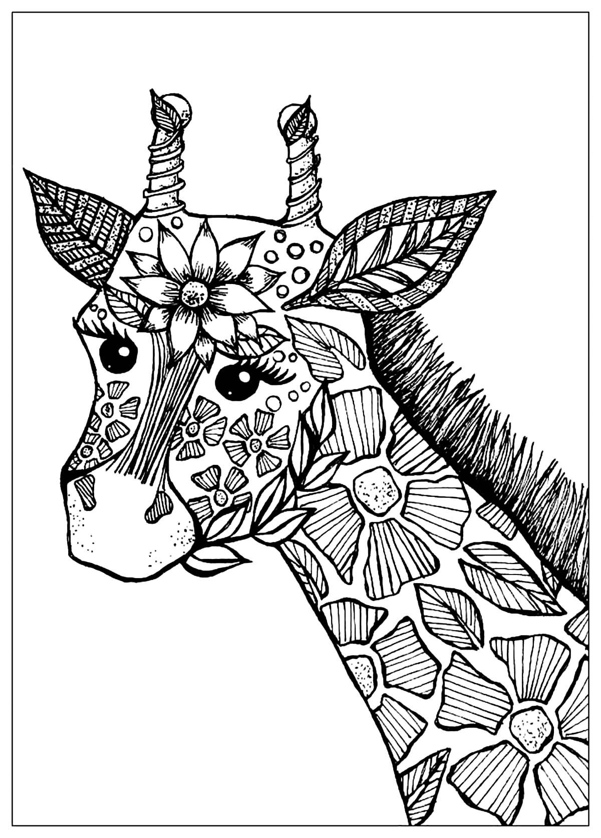Giraffe Head With Flowers The Stains Of This Giraffe Have Been Drawn Like Flowers From Giraffe Coloring Pages Animal Coloring Pages Abstract Coloring Pages