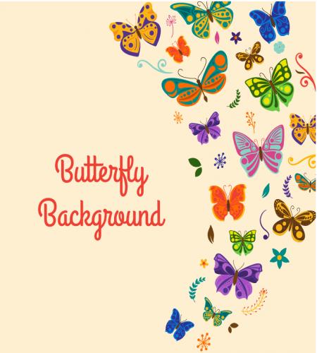 تصميم ابداعي خلفية فراشات ملونه على شكل نصف اطار ملف مفتوح Mariposas De Colores Vector De Fondo Decoracion De Pared