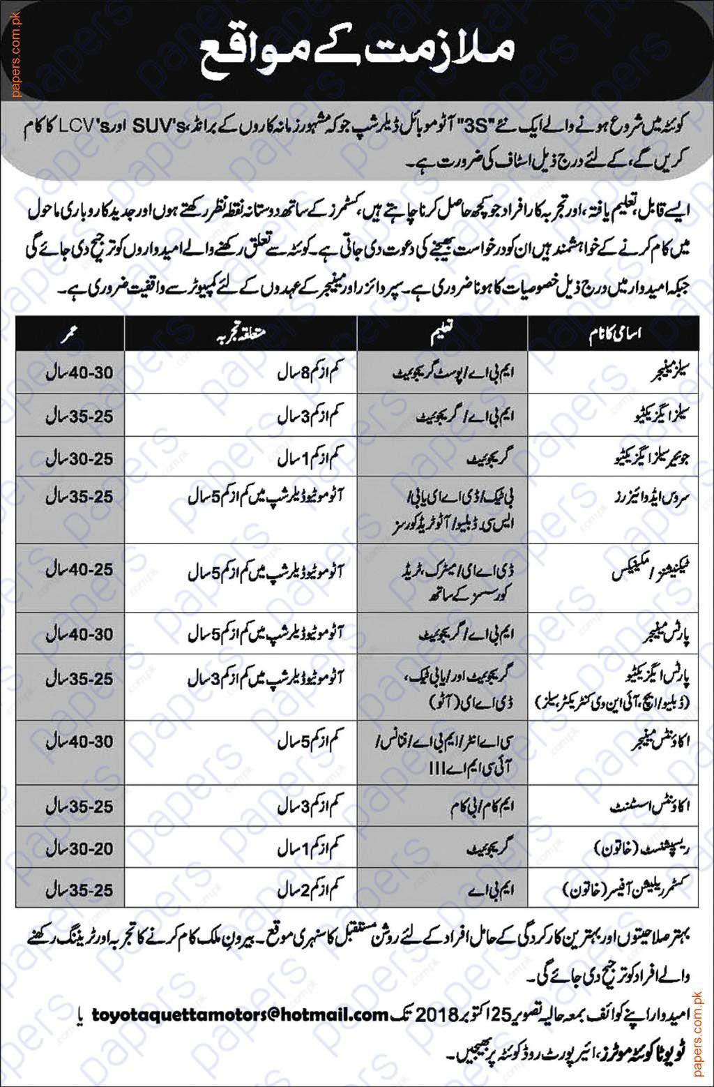 Toyota Quetta Motors jobs 2018 in Pakistan   Government Jobs