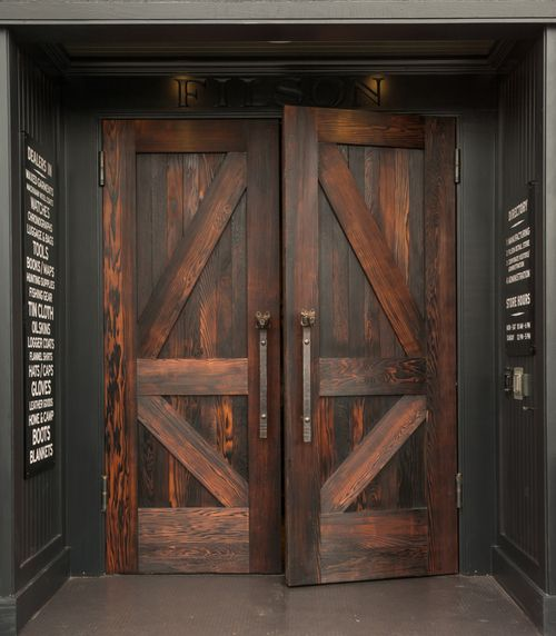 Filsons Front Doors Designed In The Dovetail Wood Shop Fabricated From Reclaimed Wine Barrels