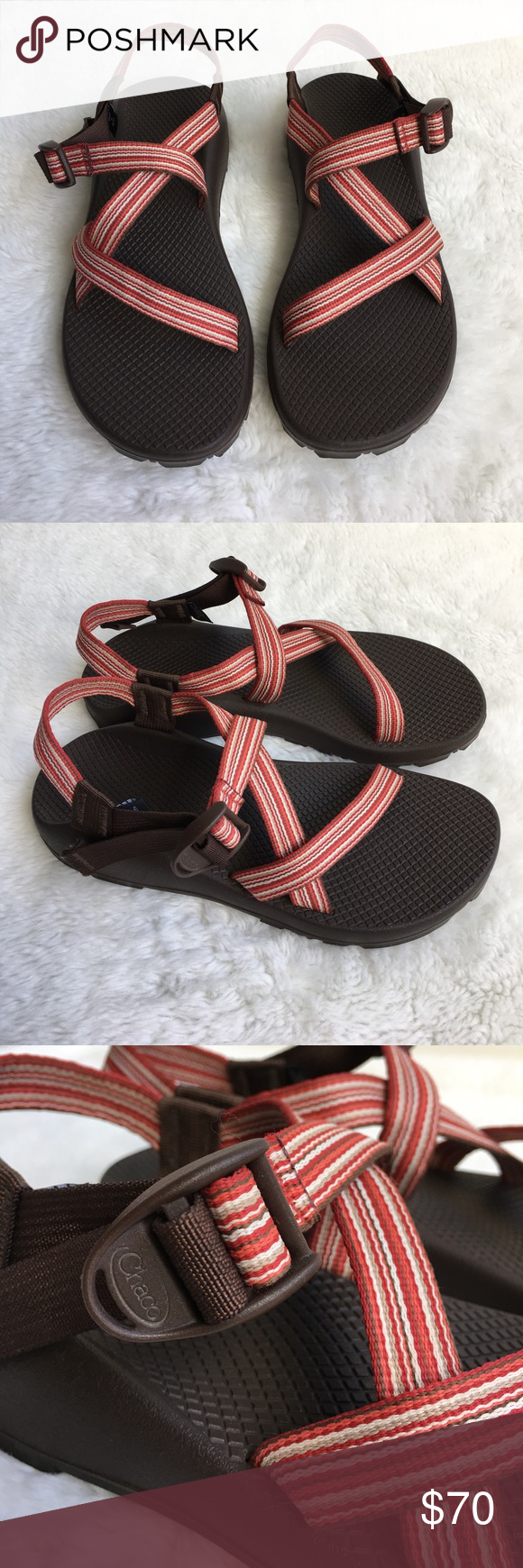 64fd300a26bd Chaco Women s Z1 Red Striped Sandals size 10 Preowned authentic Chaco  Women s Z1 Red Striped Sandals size 10. Please look at pictures for better  reference.