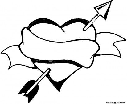 Valentines Day Heart And Arrow Coloring Page Printable Coloring