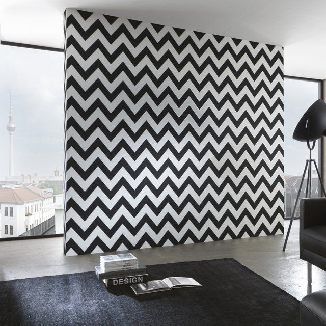quand le papier peint graphique r veille les murs. Black Bedroom Furniture Sets. Home Design Ideas