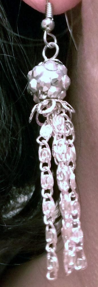 Free Shipping Silver Tassle Earrings, clip on or hypoallergenic also