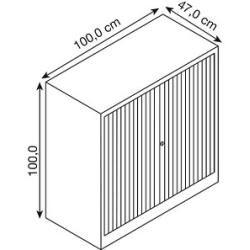 Photo of Bisley Essentials roller shutter cupboard gray 1 shelf Bisley