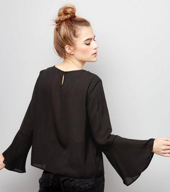 Black Bell Sleeve Top  | New Look