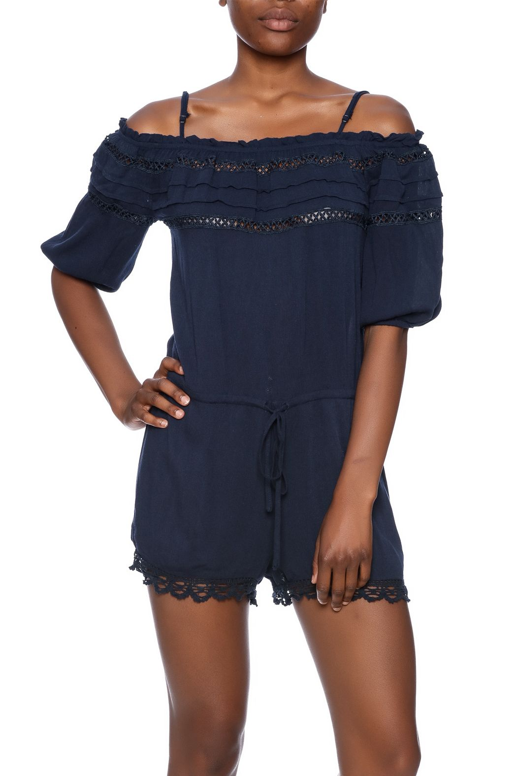 Navy off the shoulder romper with two straps and pockets.   Open Shoulder Romper by Andree. Clothing - Jumpsuits & Rompers - Rompers Geneva, Chicago, Illinois