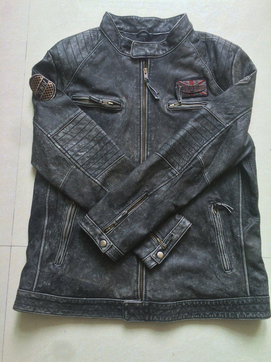 Vintage Leather Motorcycle Jacket Punk Bomber Jacket