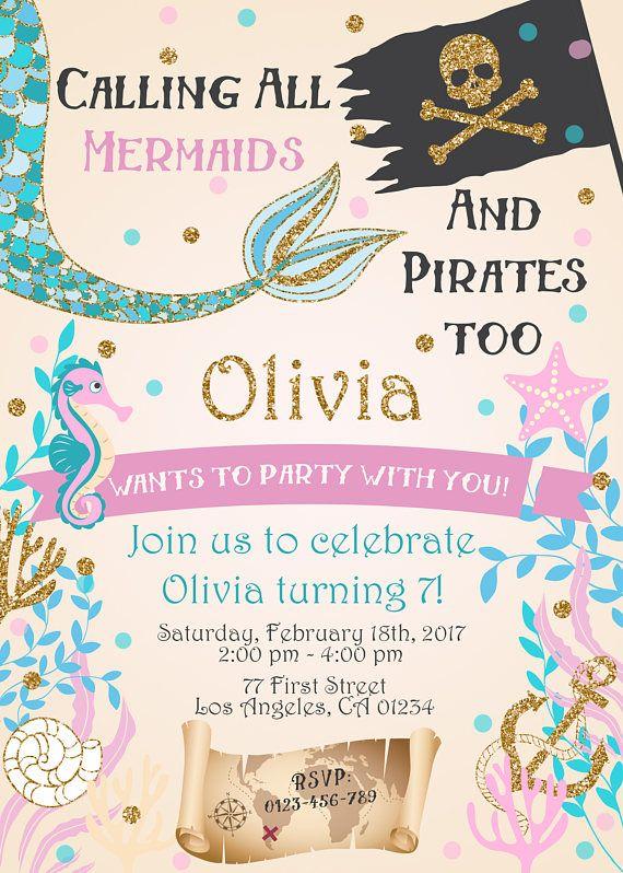 Mermaid And Pirate Birthday Party Invitation Under